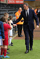 Swansea manager Paul Clement greets young supporters as he arrives prior to the game during the Premier League match between Swansea City and West Bromwich Albion at The Liberty Stadium, Swansea, Wales, UK. Saturday 09 December 2017