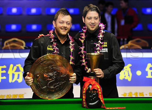 03.03.2013 Haikou, China. Mark Allen of Northern Ireland and Matthew Stevens of Wales with their trophys after the final of the Haikou World Open.
