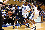 02 January 2014: ODU's Galaisha Goodhope (5) is defended by Duke's Alexis Jones (2) and Oderah Chidom (right). The Duke University Blue Devils played the Old Dominion University Lady Monarchs in an NCAA Division I women's basketball game at Cameron Indoor Stadium in Durham, North Carolina. Duke won the game 87-63.