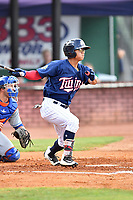 Elizabethton Twins left fielder Lean Marrero (39) swings at a pitch during a game against the Kingsport Mets at Joe O'Brien Field on August 7, 2018 in Elizabethton, Tennessee. The Twins defeated the Mets 16-10. (Tony Farlow/Four Seam Images)