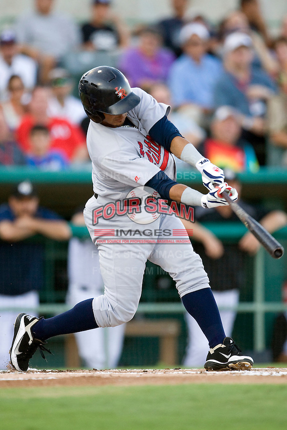 Arkansas Travelers third baseman Luis Jimenez #7 swings during the Texas League All Star Game played on June 29, 2011 at Nelson Wolff Stadium in San Antonio, Texas. The South defeated the North 3-2 in the contest. (Andrew Woolley / Four Seam Images)