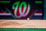 9 July 2017: The Starting Baseball rests ready on the mound moments prior to the first pitch between the Atlanta Braves and the Washington Nationals at Nationals Park in Washington, DC. The Nationals defeated the Braves to split their 4-game series. Mandatory Credit: Ed Wolfstein Photo *** RAW (NEF) Image File Available ***