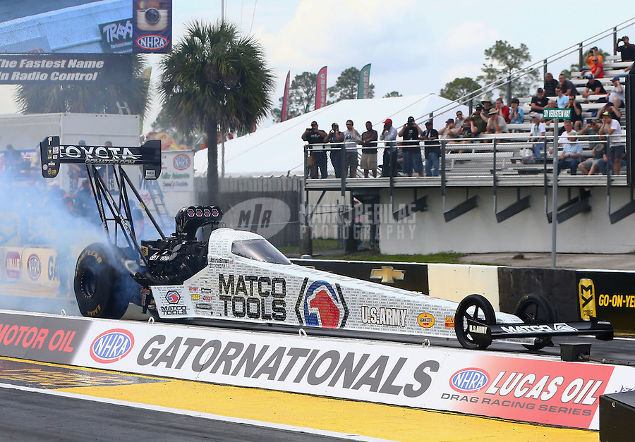 Mar 18, 2016; Gainesville, FL, USA; NHRA top fuel driver Antron Brown during qualifying for the Gatornationals at Auto Plus Raceway at Gainesville. Mandatory Credit: Mark J. Rebilas-USA TODAY Sports