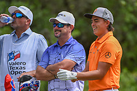 Rickie Fowler (USA) shares a laugh on the tee on 9 during day 4 of the Valero Texas Open, at the TPC San Antonio Oaks Course, San Antonio, Texas, USA. 4/7/2019.<br /> Picture: Golffile | Ken Murray<br /> <br /> <br /> All photo usage must carry mandatory copyright credit (© Golffile | Ken Murray)