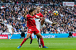 Marcelo Vieira Da Silva (c) of Real Madrid fights for the ball with Jesus Navas Gonzalez of Sevilla FC during the La Liga 2017-18 match between Real Madrid and Sevilla FC at Santiago Bernabeu Stadium on 09 December 2017 in Madrid, Spain. Photo by Diego Souto / Power Sport Images