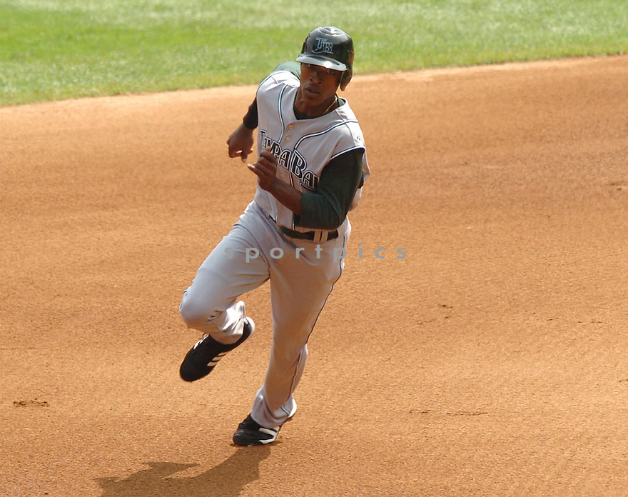 BJ UPTON, of the Tampa Bay Devil Rays, in action during the Devil Rays game against the Chicago White Sox  in Chicago on August 27, 2007.  The White Sox won the game 5-4............