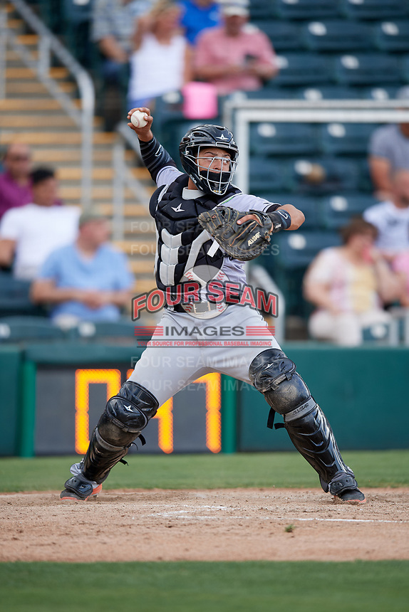 Jupiter Hammerheads catcher Roy Morales (7) throws down to second base during a game against the Fort Myers Miracle on April 9, 2017 at CenturyLink Sports Complex in Fort Myers, Florida.  Jupiter defeated Fort Myers 3-2.  (Mike Janes/Four Seam Images)