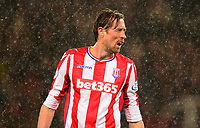 Peter Crouch of Stoke in the rain during the EPL - Premier League match between Stoke City and Newcastle United at the Britannia Stadium, Stoke-on-Trent, England on 1 January 2018. Photo by Bradley Collyer / PRiME Media Images.