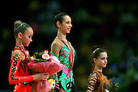 "(Center in focus) Daria Kushnerova of Ukraine celebrates win during event finals at 2007 World Cup Kiev, ""Deriugina Cup"" in Kiev, Ukraine on March 18, 2007. Daria won the junior All-Around the day before."