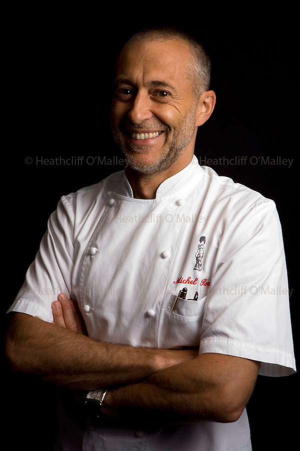 May0015665 . Daily Telegraph..Michel Roux Jnr photographed at his 3 Star Michelin restaurant Le Gavroche in London's Mayfair...London 4 August 09