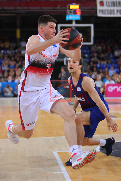League ACB-ENDESA 201/2019.Game 38.<br /> PlayOff Semifinals.1st match.<br /> FC Barcelona Lassa vs Tecnyconta Zaragoza: 101-59.<br /> Jonathan Barreiro vs Kevin Pangos.