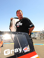 Jul. 17, 2010; Sonoma, CA, USA; NHRA pro stock driver Shane Gray during qualifying for the Fram Autolite Nationals at Infineon Raceway. Mandatory Credit: Mark J. Rebilas-