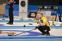 Glasgow. SCOTLAND. Sweden &quot;Skip&quot; Niklas EDIN, uses his brush to signals to his team mates, at the Le Gruy&egrave;re European Curling Championships. 2016 Venue, Braehead  Scotland<br /> Sunday  20/11/2016<br /> <br /> [Mandatory Credit; Peter Spurrier/Intersport-images]