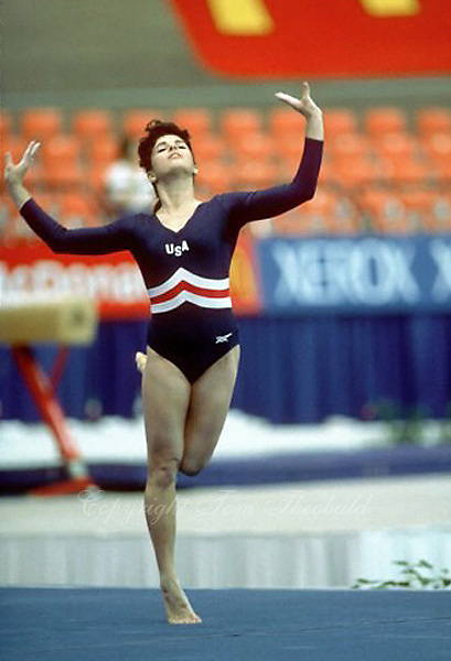 Kelly Garrison of USA performs floor exercise at 1985 World Championships Montreal, Canada.  Photo by Tom Theobald.