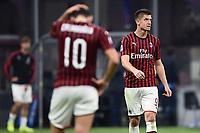 Hakan Calhanoglu , Krzysztof Piatek of AC Milan dejection <br /> Milano 20/10/2019 Stadio Giuseppe Meazza <br /> Football Serie A 2019/2020 <br /> AC Milan - Lecce <br /> Photo Image Sport / Insidefoto