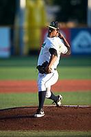 Hillsboro Hops starting pitcher Luis Frias (19) delivers a pitch during a Northwest League game against the Salem-Keizer Volcanoes at Ron Tonkin Field on September 1, 2018 in Hillsboro, Oregon. The Salem-Keizer Volcanoes defeated the Hillsboro Hops by a score of 3-1. (Zachary Lucy/Four Seam Images)