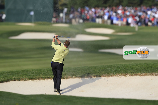 Europe's Luke Donald (ENG) plays his 2nd shot from a fairway bunker on the 10th hole during Friday's Morning Foursomes Matches of the 39th Ryder Cup at Medinah Country Club, Chicago, Illinois 28th September 2012 (Photo Eoin Clarke/www.golffile.ie)