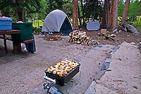 Campsite with food cooking on the BBQ. Great Basin National Park, Nevada