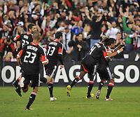 D.C. United midfielder Marcelo Saragosa (11) celebrates his score with teammates.  D.C. United defeated The Columbus Crew 3-2 at RFK Stadium, Saturday October 20, 2012.