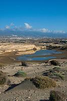 View of el Medano from the Red Mountain, montano roja.  El Medano, Tenerife, Canary Islands.