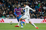 Real Madrid´s Lucas Silva (R) and Levante´s Sissoko during La Liga match at Santiago Bernabeu stadium in Madrid, Spain. March 15, 2015. (ALTERPHOTOS/Victor Blanco)