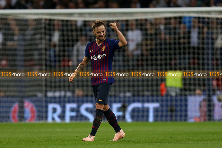 Ivan Rakitic of FC Barcelona celebrates scoring the second goal during Tottenham Hotspur vs FC Barcelona, UEFA Champions League Football at Wembley Stadium on 3rd October 2018