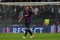 Ivan Rakitic of FC Barcelona celebrates scoring the second goal during Tottenham Hotspur vs FC Barcelona, UEFA Champions League Football at Wembley Stadium on 3rd October 2018