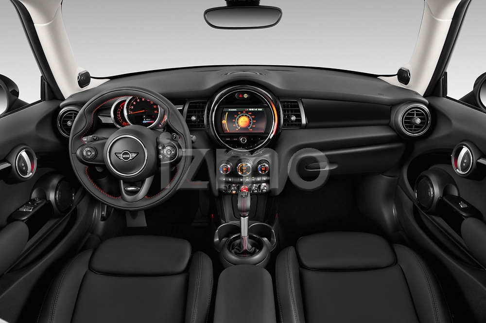 Stock photo of straight dashboard view of a 2019 Mini Hardtop 2 Door Cooper S Signature 3 Door Hatchback