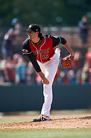 Hickory Crawdads starting pitcher Tim Brennan (15) follows through on his delivery against the Lakewood BlueClaws at L.P. Frans Stadium on April 28, 2019 in Hickory, North Carolina. The Crawdads defeated the BlueClaws 10-3. (Brian Westerholt/Four Seam Images)