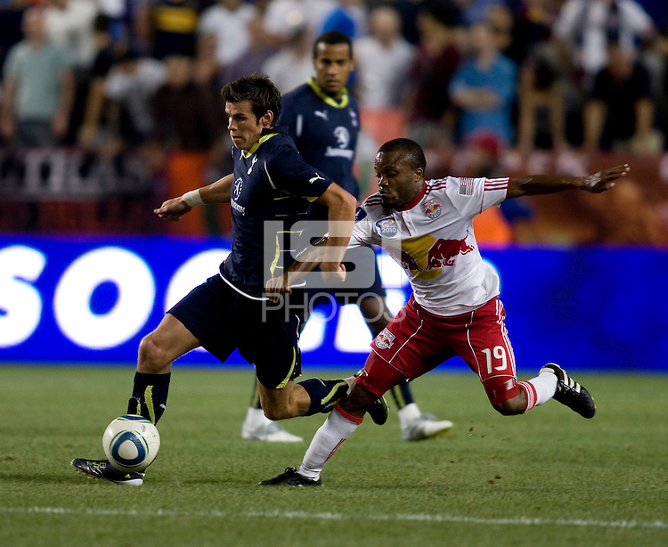 Gareth Bale (3) of Tottenham sprints away from Dane Richards (19) of the New York Red Bulls during the Barclays New York Challenge at Red Bull Arena in Harrison, NY.  Tottenham defeated the New York Red Bulls, 2-1.