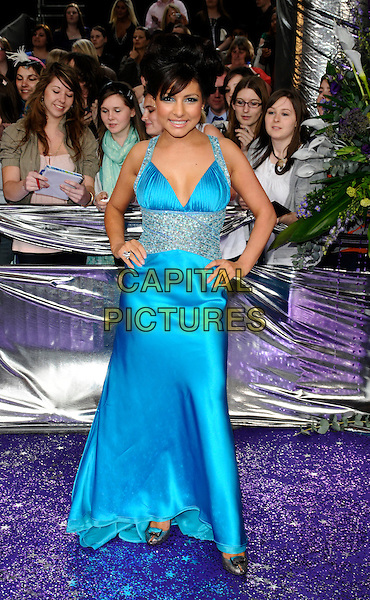 ROXANNE PALLETT.Emmerdale.The British Soap Awards 2008 BBC Television Centre, Wood Lane, London, England. May 3rd, 2008.full length blue dress silver jewel encrusted waist hands on hips silk satin .CAP/CAN.© Can Nguyen/Capital Pictures