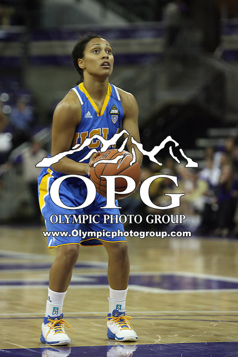 December 31, 2010:  UCLA guard #5 Mariah Williams sets up for a free throw against Washington.  UCLA defeated Washington 60-48 at Hec Ed Arena in Seattle, WA.