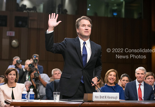 Judge Brett Kavanaugh is sworn-in to testify before the United States Senate Judiciary Committee on his nomination as Associate Justice of the US Supreme Court to replace the retiring Justice Anthony Kennedy on Capitol Hill in Washington, DC on Tuesday, September 4, 2018.<br /> Credit: Ron Sachs / CNP<br /> (RESTRICTION: NO New York or New Jersey Newspapers or newspapers within a 75 mile radius of New York City)