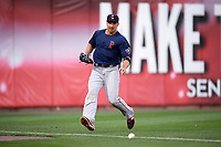 Pawtucket Red Sox left fielder Brian Bogusevic (16) fields a ground ball during a game against the Buffalo Bisons on August 31, 2017 at Coca-Cola Field in Buffalo, New York.  Buffalo defeated Pawtucket 4-2.  (Mike Janes/Four Seam Images)