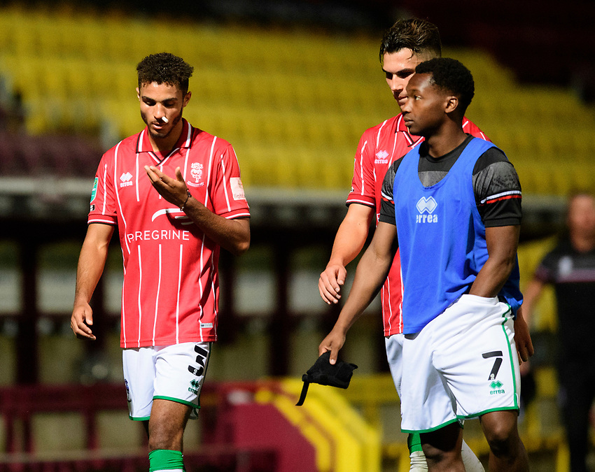 Lincoln City's Max Melbourne, left, leaves the pitch with Tayo Edun<br /> <br /> Photographer Chris Vaughan/CameraSport<br /> <br /> Carabao Cup Second Round Northern Section - Bradford City v Lincoln City - Tuesday 15th September 2020 - Valley Parade - Bradford<br />  <br /> World Copyright © 2020 CameraSport. All rights reserved. 43 Linden Ave. Countesthorpe. Leicester. England. LE8 5PG - Tel: +44 (0) 116 277 4147 - admin@camerasport.com - www.camerasport.com