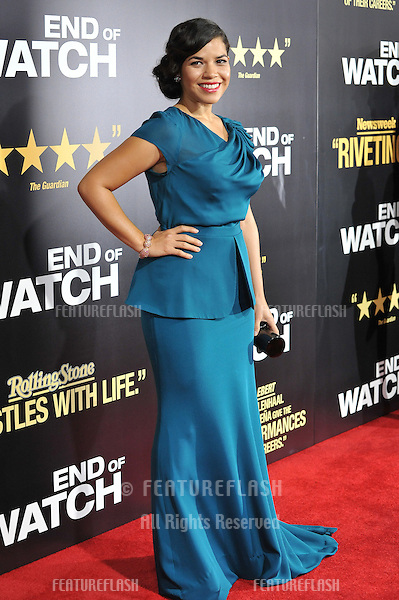 "America Ferrera at the premiere of her movie ""End of Watch"" at the Regal Cinemas LA Live..September 17, 2012  Los Angeles, CA.Picture: Paul Smith / Featureflash"