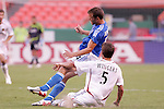 July 14 2007:  Chris Wingert (5) of Real Salt Lake fouls Jack Jewsbury (14) of the Wizards from behind.  The MLS Kansas City Wizards defeated the visiting Real Salt Lake 1-0 at Arrowhead Stadium in Kansas City, Missouri, in a regular season league soccer match.