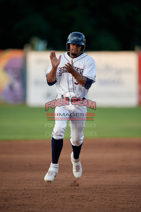 Mahoning Valley Scrappers Johnathan Rodriguez (32) rounds the bases after a home run by Henry Pujols (not shown) during a NY-Penn League game against the Hudson Valley Renegades on July 15, 2019 at Eastwood Field in Niles, Ohio.  Mahoning Valley defeated Hudson Valley 6-5.  (Mike Janes/Four Seam Images)