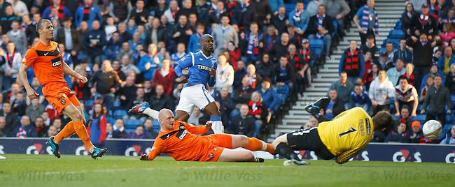 Sone Aluko fires in his first and Rangers second goal