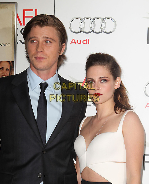 Garrett Hedlund, Kristen Stewart.AFI FEST 2012 'On The Road' gala screening, Grauman's Chinese Theatre, Hollywood, California, USA..3rd November 2012.headshot portrait white top suit blue shirt black suit shirt half length.CAP/ADM/KB.©Kevan Brooks/AdMedia/Capital Pictures.