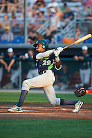 Vermont Lake Monsters third baseman JaVon Shelby (29) at bat during a game against the Auburn Doubledays on July 12, 2016 at Falcon Park in Auburn, New York.  Auburn defeated Vermont 3-1.  (Mike Janes/Four Seam Images)