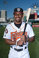 Fresno Grizzlies second baseman Tony Kemp (5) poses for a photo before a Pacific Coast League game against the Salt Lake City Bees at Chukchansi Park on May 14, 2018 in Fresno, California. Fresno defeated Salt Lake City 4-3. (Zachary Lucy/Four Seam Images)