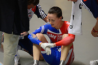VICTORIA PENDLETON (GBR) recovers after crashing in the first race of the Womens Sprint Semifinals against ANNA MEARES (AUS) on day 3 of the 2012 UCI Track Cycling World Championships at Hisense Arena in Melbourne, Australia. Pendleton goes on to win the next two races against Meares and goes on to win the gold medal in the event. Photo Sydney Low. Copyright 2012 Sydney Low. All rights reserved. No reproduction permitted. Access via FlickrAPI not permitted...Please contact ZUMApress.com for editorial licensing:.Phone +1.949.481.3747  -  fax +1.949.481.3941  -  zuma-info@ZUMAPress.com .408 N. El Camino Real, San Clemente, California, 92672 USA