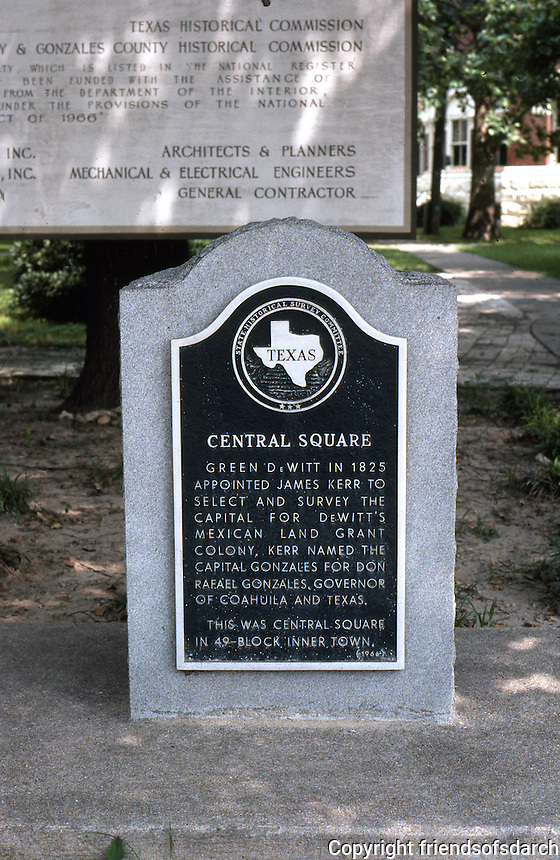 Gonzales:  Plaque.   Photo '80.