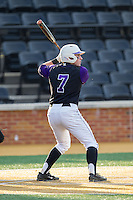 Dane McDermott (7) of the High Point Panthers at bat against the Wake Forest Demon Deacons at Wake Forest Baseball Park on April 2, 2014 in Winston-Salem, North Carolina.  The Demon Deacons defeated the Panthers 10-6.  (Brian Westerholt/Four Seam Images)