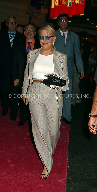 "Opening night for Broadway's newest and hottest show, ""Hairspray"" at Neil Simon Theatre. New York, August 15, 2002. Pictured is Bette Midler. Please byline: Alecsey Boldeskul/NY Photo Press.   ..*PAY-PER-USE*      ....NY Photo Press:  ..phone (646) 267-6913;   ..e-mail: info@nyphotopress.com"