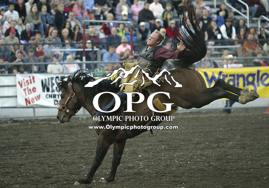 29 Aug 2009:   Russ Hallaby scored a 67 in the Bareback Riding competition at the Kitsap County Wrangler Million Dollar PRCA Pro Rodeo Tour in Bremerton, Washington.
