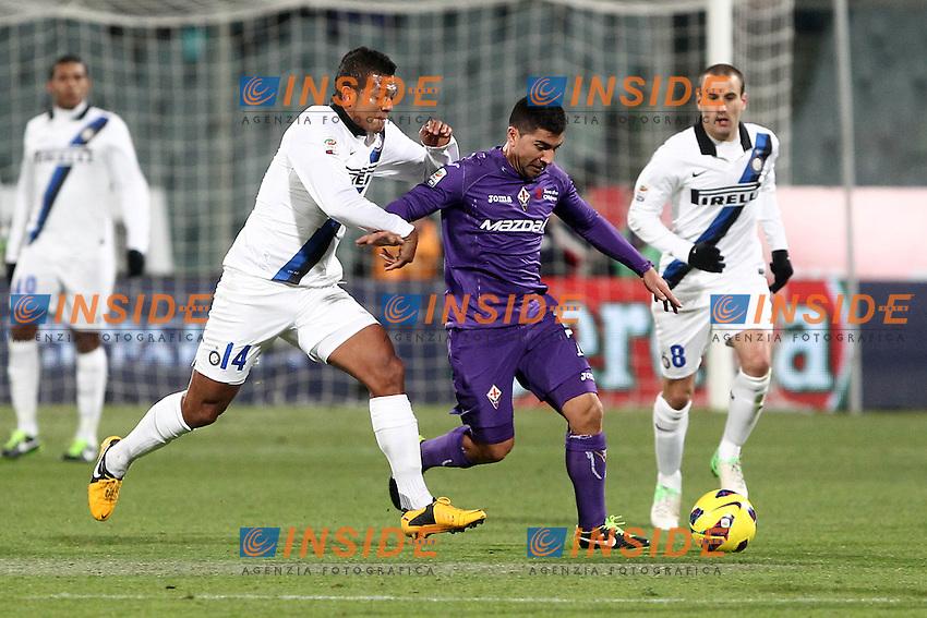 """David Pizarro Fiorentina Fredy Guarin Inter.Firenze 17/02/2013 Stadio """"Franchi"""".Football Calcio Serie A 2012/13.Fiorentina v Inter.Foto Insidefoto Paolo Nucci."""