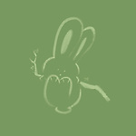 Cute happy bunny rabbit swinging on a branch, artistic illustration on green background based on an original sumi-e painting artwork, minimalistic design