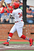 Johnson City Cardinals Terry Fuller (34) swings at a pitch during a game against the Kingsport Mets at TVA Credit Union Ballpark on June 28, 2019 in Johnson City, Tennessee. The Cardinals defeated the Mets 7-4. (Tony Farlow/Four Seam Images)